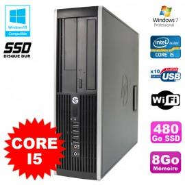 PC HP Elite 8200 SFF Intel Core I5 3.1GHz 8Go Disque 480Go SSD DVD WIFI W7
