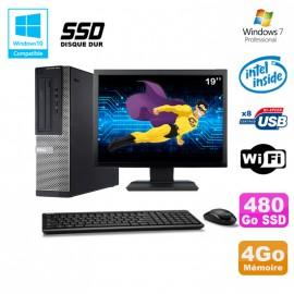 Lot PC DELL Optiplex 390DT G2020 DVD 4Go 480Go SSD Wifi HDMI Win 7 + Ecran 19