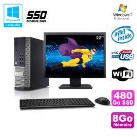 """Lot PC Dell 7010 SFF Intel G870 3.1GHz 8Go Disque 480Go SSD Wifi W7 + Ecran 22"""""""