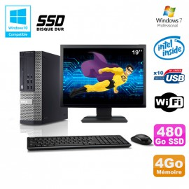 Lot PC DELL Optiplex 790 SFF G840 2.8Ghz 4Go 480Go SSD WIFI W7 Pro +Ecran 19