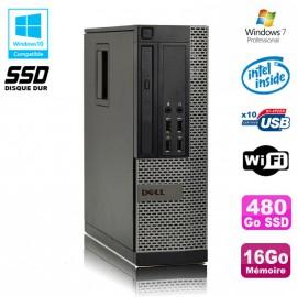 PC DELL Optiplex 790 SFF Intel G840 2.8Ghz 16Go DDR3 480Go SSD WIFI Win 7 Pro