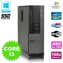 PC DELL Optiplex 790 SFF Intel i3-2120 3.3Ghz 16Go DDR3 480Go SSD WIFI W7 Pro