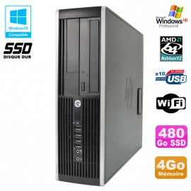 PC HP Compaq 6005 Pro SFF AMD 3GHz 4Go DDR3 480Go SSD Graveur WIFI Windows Xp