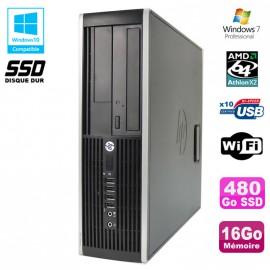 PC HP Compaq 6005 Pro SFF AMD 3GHz 16Go DDR3 480Go SSD Graveur WIFI Win 7 Pro
