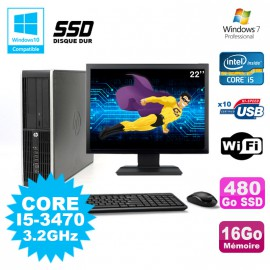 Lot PC HP Elite 8300 SFF I5-3470 3.2GHz 16Go 480Go SSD Graveur Wifi W7+ Ecran 22