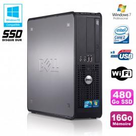 PC DELL Optiplex 780 Sff Core 2 Duo E7500 2,93Ghz 16Go 480Go SSD WIFI Win 7 Pro