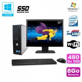 """Lot PC DELL Optiplex 780 Sff E7500 2,93Ghz 8Go DDR3 480Go SSD WIFI W7 Pro + 22"""""""