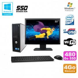 """Lot PC DELL Optiplex 780 Sff E8400 3Ghz 4Go DDR3 480Go SSD WIFI Win 7 Pro + 22"""""""