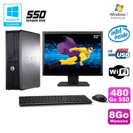 """Lot PC DELL Optiplex 760 DT E5200 2,5Ghz 8Go DDR2 480Go SSD WIFI Win 7 + 22"""""""