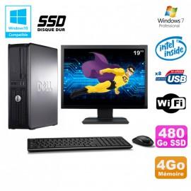 """Lot PC DELL Optiplex 380 DT Intel E7500 2,92Ghz 4Go DDR3 480Go SSD W7 Pro +19"""""""