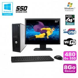 """Lot PC DELL Optiplex 740 SFF Athlon 64 2.7GHz 8Go 480Go SSD WIFI Win 7 + 22"""""""