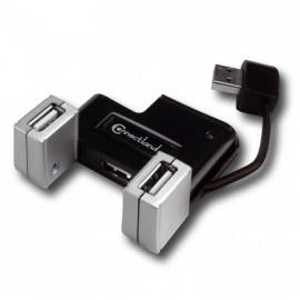 Hub USB PC Mac Connectland 3401170 4xUSB-A+2xUSB-A Rotatives 180° Câble Intégré