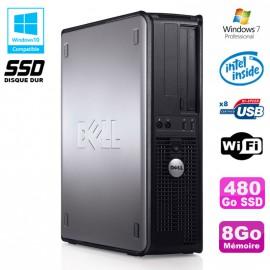 PC DELL Optiplex 780 DT Intel E8400 3Ghz 8Go 480Go SSD WIFI Win 7 Pro