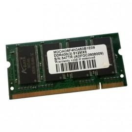 512Mo RAM PC Portable SODIMM ADATA MDOAD6F4H3450B1E09 DDR1 PC-3200S 400MHz