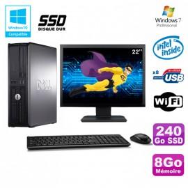 """Lot PC DELL Optiplex 780 DT Intel E7500 2.93Ghz 8Go 240Go SSD WIFI W7 + Ecran 22"""""""