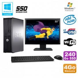 """Lot PC DELL Optiplex 780 DT Intel E8400 3Ghz 4Go 240Go SSD WIFI W7 + Ecran 22"""""""