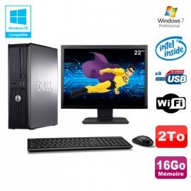 """Lot PC DELL Optiplex 780 DT Intel E8400 3Ghz 16Go 2000Go WIFI Win 7 + Ecran 22"""""""