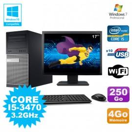 """Lot PC Tour Dell 790 Intel I5-3470 3.2Ghz 4Go 250Go DVD WIFI Win 7 + Ecran 17"""""""