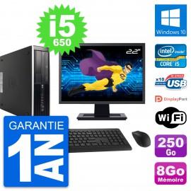 "PC HP 8100 Elite SFF Ecran 22"" Core i5-650 RAM 8Go Disque 250Go Windows 10 Wifi"