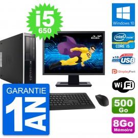 "PC HP 8100 Elite SFF Ecran 22"" Core i5-650 RAM 8Go Disque 500Go Windows 10 Wifi"