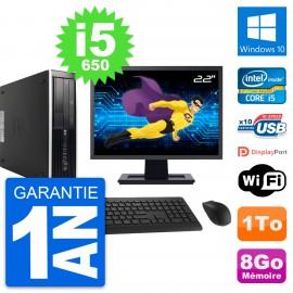 "PC HP 8100 SFF Ecran 22"" Intel Core i5-650 RAM 8Go Disque 1To Windows 10 Wifi"