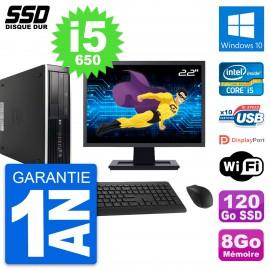 "PC HP 8100 SFF Ecran 22"" Intel Core i5-650 RAM 8Go SSD 120Go Windows 10 Wifi"