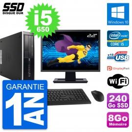 "PC HP 8100 SFF Ecran 22"" Intel Core i5-650 RAM 8Go SSD 240Go Windows 10 Wifi"