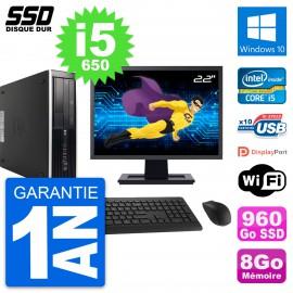 "PC HP 8100 SFF Ecran 22"" Intel Core i5-650 RAM 8Go SSD 960Go Windows 10 Wifi"