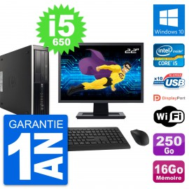 "PC HP 8100 SFF Ecran 22"" Core i5-650 RAM 16Go Disque 250Go Windows 10 Wifi"