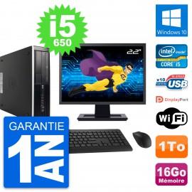 "PC HP 8100 SFF Ecran 22"" Intel Core i5-650 RAM 16Go Disque 1To Windows 10 Wifi"