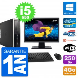 "PC HP 8100 Elite SFF Ecran 27"" Core i5-650 RAM 4Go Disque 250Go Windows 10 Wifi"