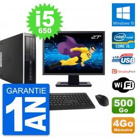 "PC HP 8100 Elite SFF Ecran 27"" Core i5-650 RAM 4Go Disque 500Go Windows 10 Wifi"