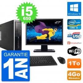"PC HP 8100 SFF Ecran 27"" Intel Core i5-650 RAM 4Go Disque 1To Windows 10 Wifi"