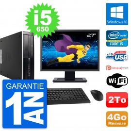 "PC HP 8100 SFF Ecran 27"" Intel Core i5-650 RAM 4Go Disque 2To Windows 10 Wifi"