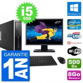 "PC HP 8100 Elite SFF Ecran 27"" Core i5-650 RAM 8Go Disque 500Go Windows 10 Wifi"