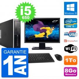 "PC HP 8100 SFF Ecran 27"" Intel Core i5-650 RAM 8Go Disque 1To Windows 10 Wifi"