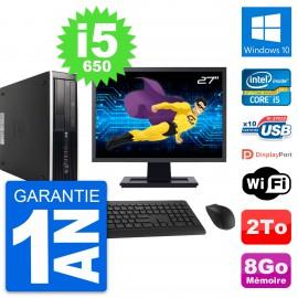 "PC HP 8100 SFF Ecran 27"" Intel Core i5-650 RAM 8Go Disque 2To Windows 10 Wifi"