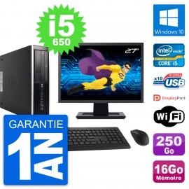 "PC HP 8100 SFF Ecran 27"" Core i5-650 RAM 16Go Disque 250Go Windows 10 Wifi"