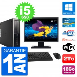 "PC HP 8100 SFF Ecran 27"" Intel Core i5-650 RAM 16Go Disque 2To Windows 10 Wifi"
