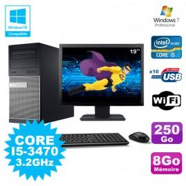 """Lot PC Tour Dell 790 Intel I5-3470 3.2Ghz 8Go 250Go DVD WIFI Win 7 + Ecran 19"""""""