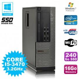 PC DELL Optiplex 790 SFF Core I5-3470 3.2Ghz 16Go Disque 240Go SSD WIFI W7 Pro