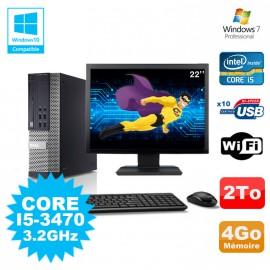 Lot PC DELL Optiplex 790 SFF Core I5-3470 3.2Ghz 4Go 2To WIFI W7 + Ecran 22