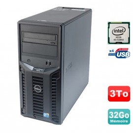 Serveur DELL PowerEdge T110 II Xeon Quad Core E3-1220 V2 32Go ECC 3To 3000Go SAS