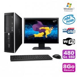 """Lot PC HP Elite 6000 Pro SFF E5400 2.7Ghz 8Go 480Go SSD WIFI W7 Pro + Ecran 17"""""""