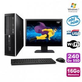 """Lot PC HP Elite 6000 Pro SFF E5400 2.7Ghz 16Go 240Go SSD WIFI W7 Pro + Ecran 19"""""""