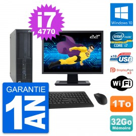 "PC HP Z230 SFF Ecran 22"" Intel Core i7-4770 RAM 32Go Disque 1To Windows 10 Wifi"
