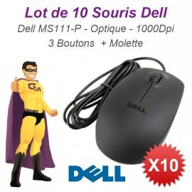 Lot 10x Souris Optique Filaire USB DELL MS111-P 011D3V 05Y2RG 093HTY 1000-DPI