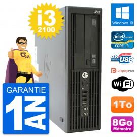 PC HP WorkStation Z210 SFF Core i3-2100 RAM 8Go Disque 1To Windows 10 Wifi