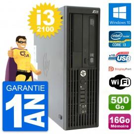 PC HP WorkStation Z210 SFF Core i3-2100 RAM 16Go Disque 500Go Windows 10 Wifi