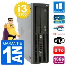 PC HP WorkStation Z210 SFF Core i3-2100 RAM 16Go Disque Dur 2To Windows 10 Wifi